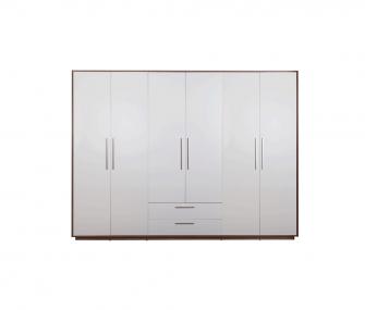 white wardrobe, wooden wardrobe, 6 doors wardrobe