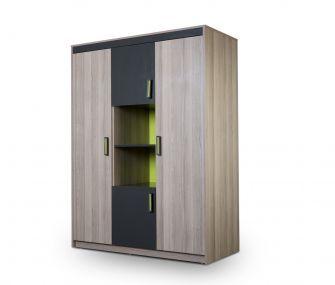 grey and green wardrobe, modern wardrobe, 3 doors wardrobe