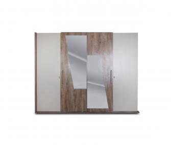 wooden beige wardrobe, wardrobe with mirror, sliding wardrobe