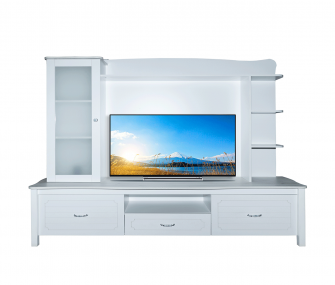white tv table, living room, hub furniture