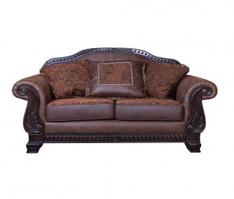 classic loveseat, brown loveseat, living room
