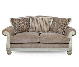 classic beige loveseat, accent loveseat, living room