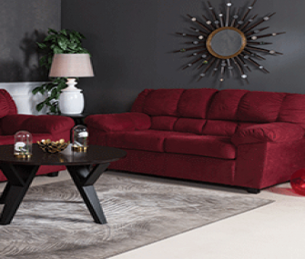 Maroon Sofa Set with Recliner Chair