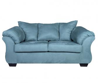 blue loveseat, comfy loveseat, living room