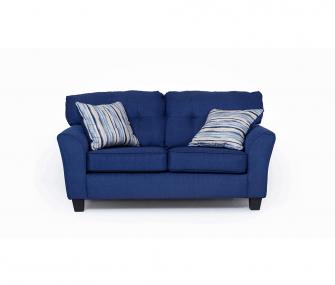 dark blue loveseat, comfy loveseat, living room
