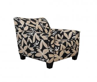 black armchair, floral armchair, living room