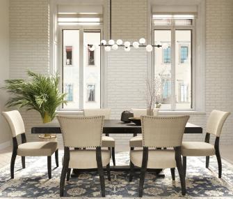 dark brown dining table, 6 chairs, hub furniture