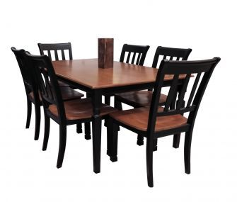 black dining table, 6 chairs, hub furniture