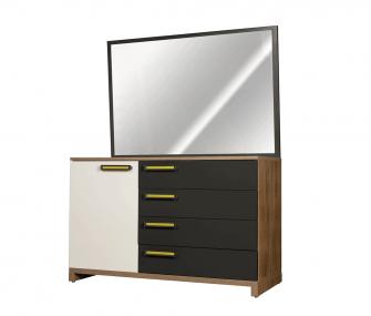 grey wooden dresser, bedroom, hub furniture