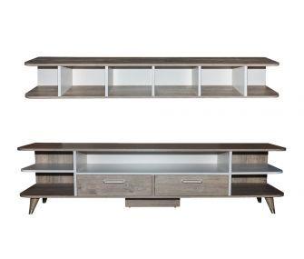 wooden white, tv table, shelf, living room, hub furniture