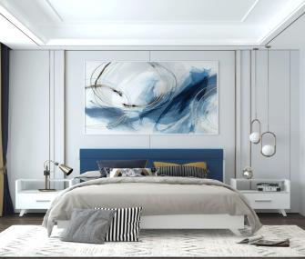 غرفة نوم مودرن تنجيد ازرق في ابيض،غرفة نوم 160 سم