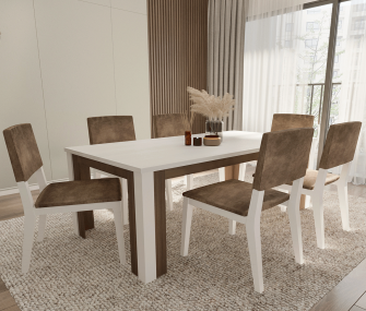 white dining table, 6 chairs, hub furniture