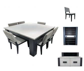 square, dining set, grey, offwhite