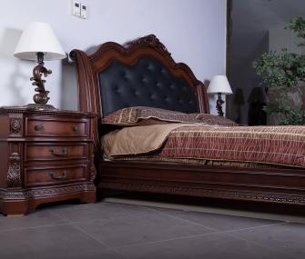 Black Leather Bedroom, classic bedroom , american style bedroom funiture , bedroom set , hub furniture Egypt
