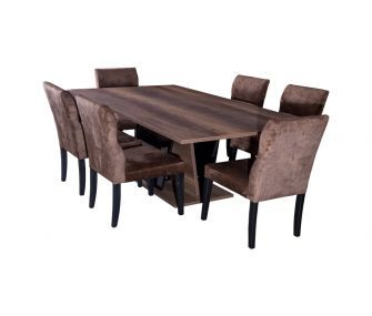 wooden dining table, 6 brown chairs, hub furniture