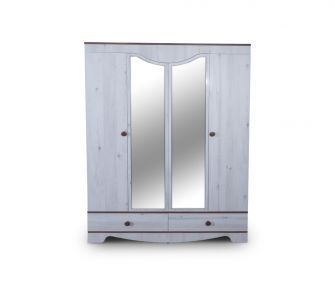white mirrored wardrobe, 4 doors wardrobe, bedroom