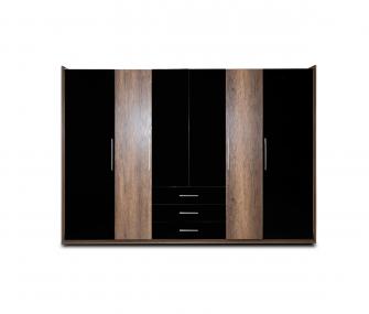 black wardrobe, wooden wardrobe, 6 doors wardrobe