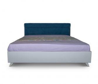 سرير 160 سم بضهر مبطن مودرن ازرق في ابيض