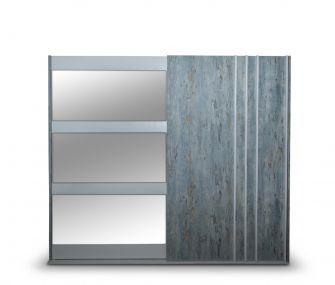 grey wardrobe, sliding wardrobe, wardrobe with mirror