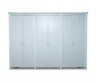 white wardrobe, 6 doors wardrobe, floral handles