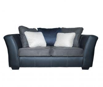 grey, navy blue loveseat, living room