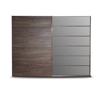 brown wardrobe, sliding wardrobe, wardrobe with mirror