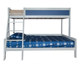 white and blue bunk bed, bunk beds, kids bedroom