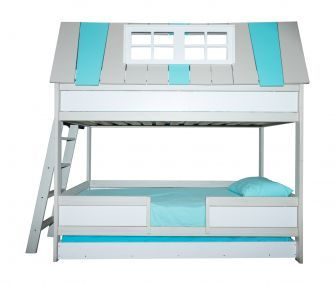 3 beds, bunk bed, white and light blue bunk bed, kids bedroom