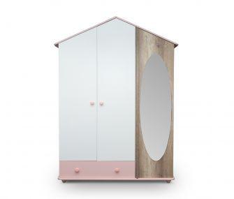 pink and white wardrobe, kids wardrobe, 3 doors wardrobe