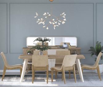 beige full dining set, Dining room furniture,Hub Furniture,dining room