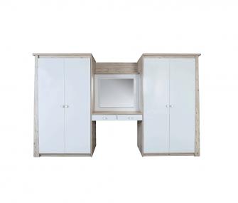 white wooden, wardrobe with dresser, 4 doors wardrobe