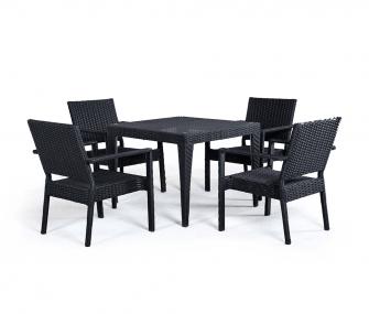 black, rattan, outdoor set