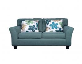 green loveseat, floral, living room