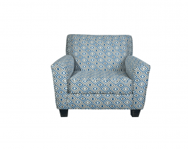 patterned armchair, blue patterned armchair, living room