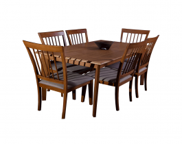 wooden dining table, 6 chairs, hub furniture