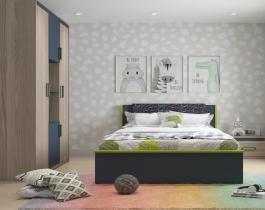 غرفة نوم اطفال بيج فاتح في رمادي