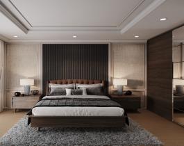 غرفة نوم رئيسية 160 سم بني فاتح