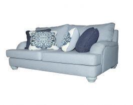 grey, modern loveseat, living room