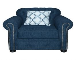 blue armchair, patterned cushion, living room