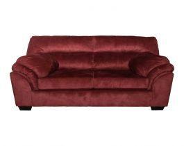 dark red, modern loveseat, living room