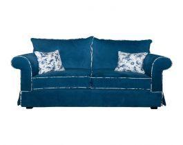 blue, floral loveseat, living room