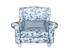 floral armchair, blue armchair, living room