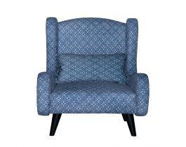 blue armchair, printed armchair, living room