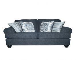 love seat, grey, blue, living room